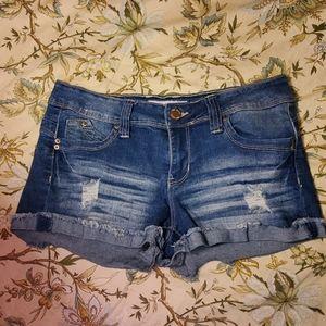 Pants - Wanna Betta Butt Flap Pocket Dark Wash Denim Short